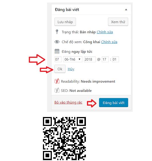 Hình 2.16: Cách đăng lên lịch tự động trong WordPress