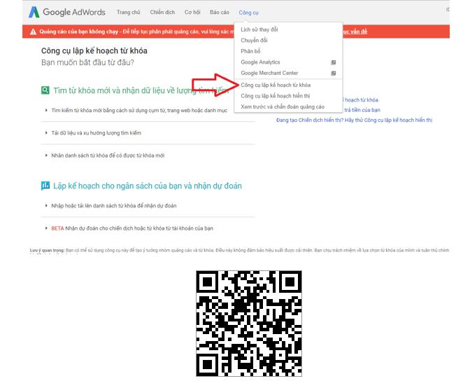 Hình 5.7: Hình ảnh vào công cụ lập kế hoạch từ khóa- Google Keyword Planner