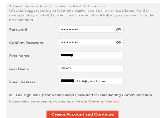 Hình 1.9: Điền thông tin thanh toán tên miền trong Namecheap