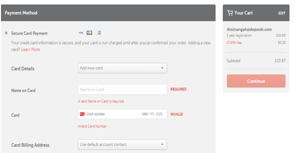 Hình 1.11: Lựa chọn thanh toán bằng thẻ trong Namecheap
