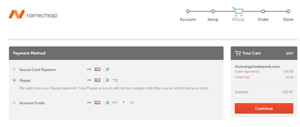 Hình 1.12: Lựa chọn thanh toán qua Paypal mua tên miền trong Namecheap