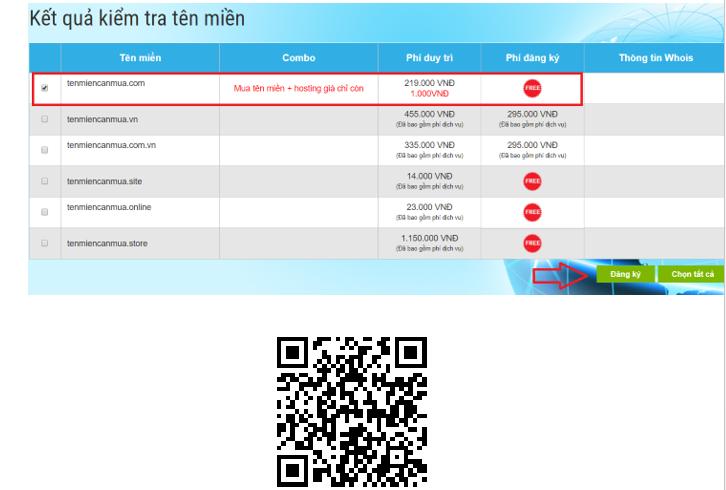 Hình 1.14: Lựa chọn tên miền tiền hành đăng ký mua trong tenten.vn