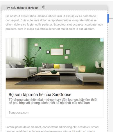 Hình 2.42: Mẫu quảng cáo nguồn cấp dữ liệu cấu hình trong Google Adsense