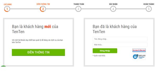 Hình 1.16: Điền thông tin đăng ký tài khoản trong tenten.vn