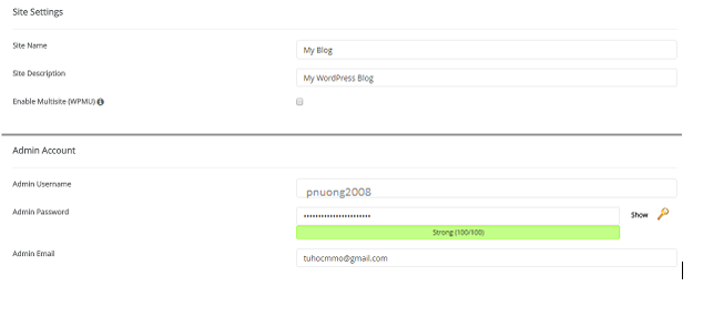 Hình 2.1: Điền thông tin cài đặt tự động website