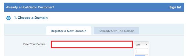 Hình 1.22: Điền thông tin tên miền cần mua trong Hostgator