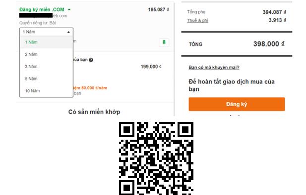Hình 1.3: Tiến hành thanh toán tên miền trong Godaddy.com