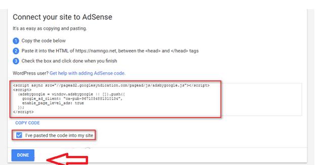 Hình 2.30: copy mã xác thực Google Adsense đưa lên trang web blog