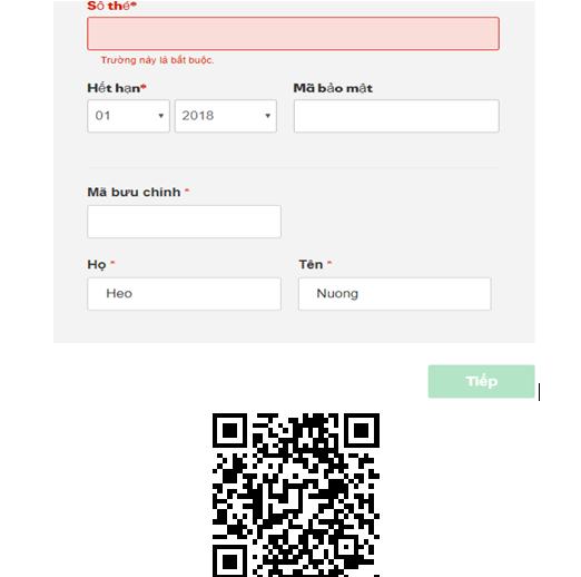 Hình 1.4: Nhập thông tin trên thẻ thanh toán tên miền trong Godaddy.com